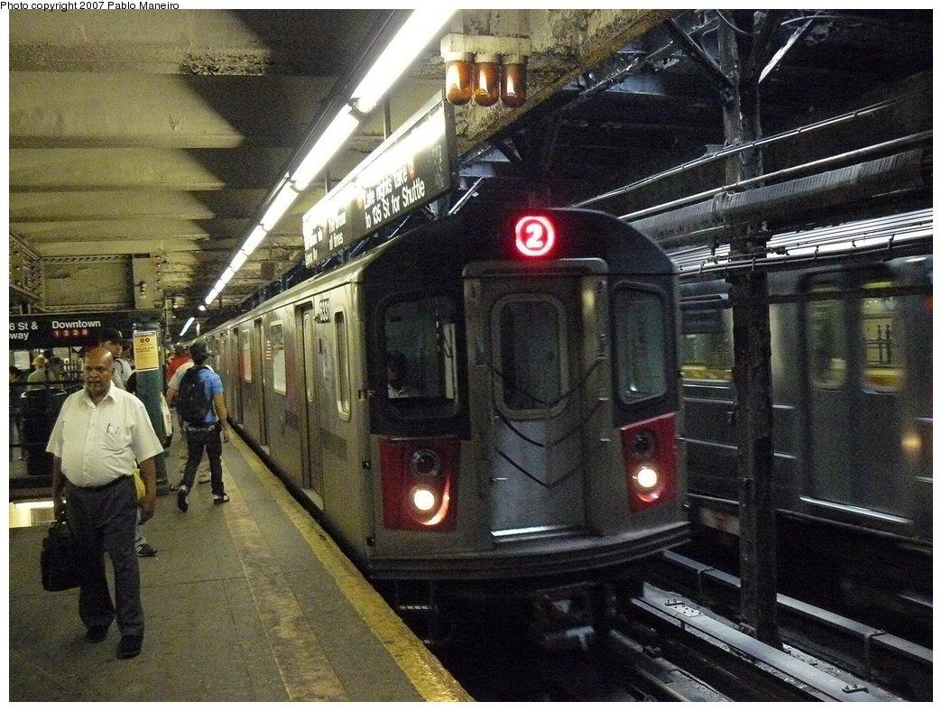 (210k, 1044x788)<br><b>Country:</b> United States<br><b>City:</b> New York<br><b>System:</b> New York City Transit<br><b>Line:</b> IRT West Side Line<br><b>Location:</b> 96th Street <br><b>Route:</b> 2<br><b>Car:</b> R-142 (Primary Order, Bombardier, 1999-2002)  6331 <br><b>Photo by:</b> Pablo Maneiro<br><b>Date:</b> 7/27/2007<br><b>Viewed (this week/total):</b> 0 / 4163