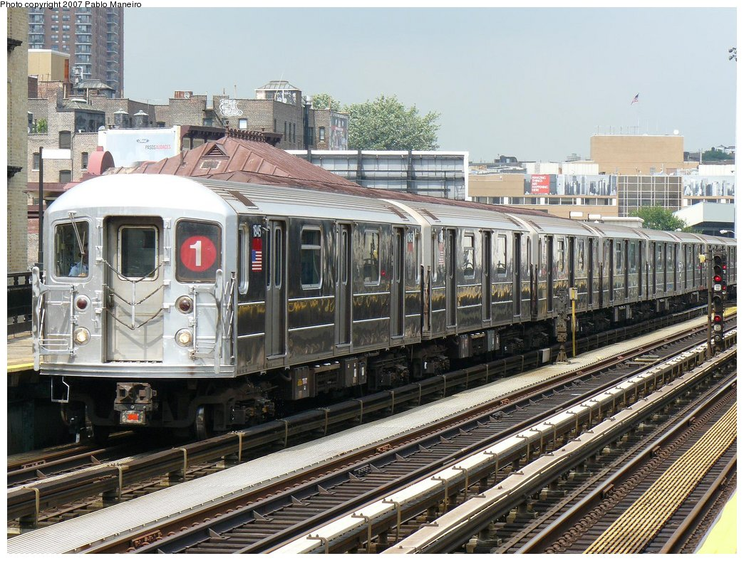 (241k, 1044x788)<br><b>Country:</b> United States<br><b>City:</b> New York<br><b>System:</b> New York City Transit<br><b>Line:</b> IRT West Side Line<br><b>Location:</b> 215th Street <br><b>Route:</b> 1<br><b>Car:</b> R-62A (Bombardier, 1984-1987)  1845 <br><b>Photo by:</b> Pablo Maneiro<br><b>Date:</b> 7/27/2007<br><b>Viewed (this week/total):</b> 0 / 2102