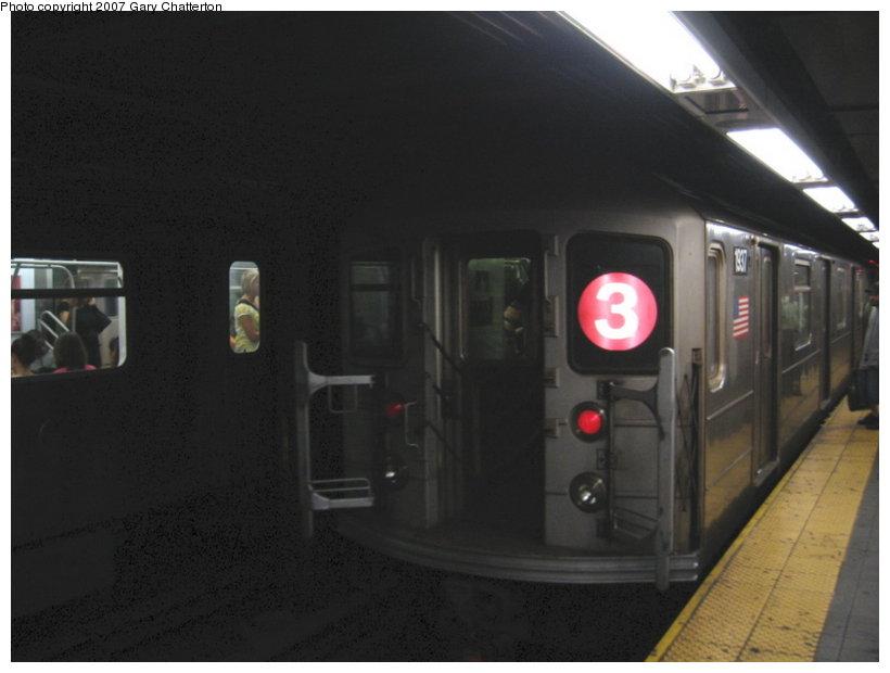 (68k, 820x620)<br><b>Country:</b> United States<br><b>City:</b> New York<br><b>System:</b> New York City Transit<br><b>Line:</b> IRT West Side Line<br><b>Location:</b> Times Square/42nd Street <br><b>Route:</b> 3<br><b>Car:</b> R-62A (Bombardier, 1984-1987)  1937 <br><b>Photo by:</b> Gary Chatterton<br><b>Date:</b> 7/31/2007<br><b>Viewed (this week/total):</b> 1 / 2767