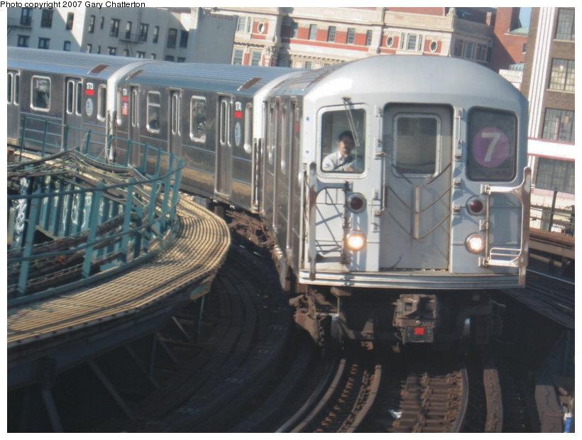 (106k, 820x620)<br><b>Country:</b> United States<br><b>City:</b> New York<br><b>System:</b> New York City Transit<br><b>Line:</b> IRT Flushing Line<br><b>Location:</b> Hunterspoint Avenue <br><b>Route:</b> 7<br><b>Car:</b> R-62A (Bombardier, 1984-1987)  1775 <br><b>Photo by:</b> Gary Chatterton<br><b>Date:</b> 7/31/2007<br><b>Viewed (this week/total):</b> 3 / 2633