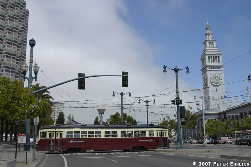 (158k, 864x574)<br><b>Country:</b> United States<br><b>City:</b> San Francisco/Bay Area, CA<br><b>System:</b> SF MUNI<br><b>Location:</b> Embarcadero/Don Chee Way <br><b>Car:</b> SF MUNI PCC Torpedo Double-End (St. Louis Car Co., 1948)  1007 <br><b>Photo by:</b> Peter Ehrlich<br><b>Date:</b> 7/26/2007<br><b>Notes:</b> Ferry Plaza (Embarcadero/Don Chee Way) inbound, side view.<br><b>Viewed (this week/total):</b> 0 / 636