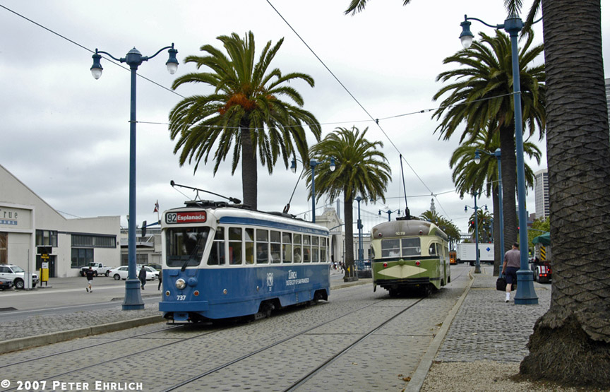 (207k, 864x555)<br><b>Country:</b> United States<br><b>City:</b> San Francisco/Bay Area, CA<br><b>System:</b> SF MUNI<br><b>Location:</b> Embarcadero/Green <br><b>Car:</b> Brussels 4-axle PCC (La Brugeoise, 1951)  737 <br><b>Photo by:</b> Peter Ehrlich<br><b>Date:</b> 7/25/2007<br><b>Notes:</b> Embarcadero/Green inbound.  With 1078 (San Diego) outbound.<br><b>Viewed (this week/total):</b> 0 / 669