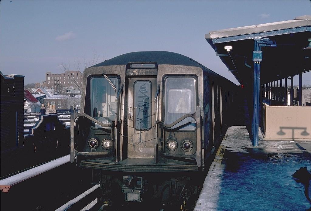 (200k, 1024x695)<br><b>Country:</b> United States<br><b>City:</b> New York<br><b>System:</b> New York City Transit<br><b>Line:</b> IND Fulton Street Line<br><b>Location:</b> Lefferts Boulevard <br><b>Route:</b> A<br><b>Car:</b> R-40 (St. Louis, 1968)   <br><b>Photo by:</b> Steve Zabel<br><b>Collection of:</b> Joe Testagrose<br><b>Date:</b> 4/7/1982<br><b>Viewed (this week/total):</b> 0 / 3048