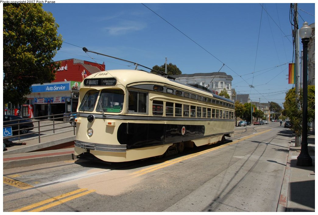 (180k, 1044x706)<br><b>Country:</b> United States<br><b>City:</b> San Francisco/Bay Area, CA<br><b>System:</b> SF MUNI<br><b>Location:</b> Market/17th/Castro <br><b>Car:</b> SF MUNI PCC (Ex-SEPTA) (St. Louis Car Co., 1947-1948)  1056 <br><b>Photo by:</b> Richard Panse<br><b>Date:</b> 6/26/2007<br><b>Viewed (this week/total):</b> 1 / 718