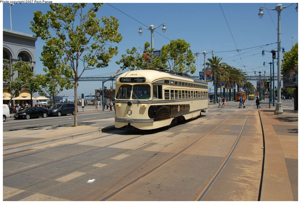 (199k, 1044x706)<br><b>Country:</b> United States<br><b>City:</b> San Francisco/Bay Area, CA<br><b>System:</b> SF MUNI<br><b>Location:</b> Embarcadero/Ferry Building <br><b>Car:</b> SF MUNI PCC (Ex-SEPTA) (St. Louis Car Co., 1947-1948)  1056 <br><b>Photo by:</b> Richard Panse<br><b>Date:</b> 6/26/2007<br><b>Viewed (this week/total):</b> 1 / 549