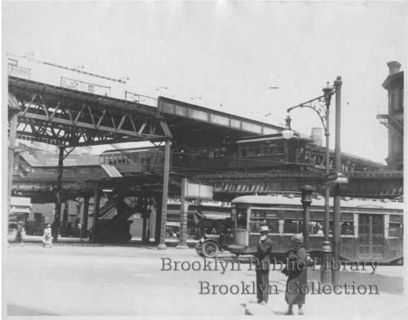 (142k, 800x627)<br><b>Country:</b> United States<br><b>City:</b> New York<br><b>System:</b> New York City Transit<br><b>Line:</b> BMT Fulton<br><b>Location:</b> Flatbush Avenue <br><b>Collection of:</b> Brooklyn Public Library (via Herbert Maruska)<br><b>Viewed (this week/total):</b> 0 / 932
