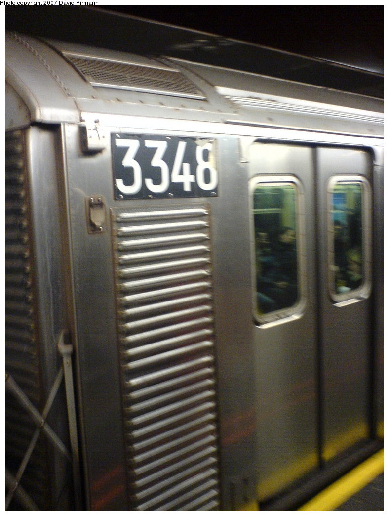 (169k, 788x1044)<br><b>Country:</b> United States<br><b>City:</b> New York<br><b>System:</b> New York City Transit<br><b>Line:</b> IND 6th Avenue Line<br><b>Location:</b> 34th Street/Herald Square <br><b>Route:</b> F<br><b>Car:</b> R-32 (Budd, 1964)  3348 <br><b>Photo by:</b> David Pirmann<br><b>Date:</b> 12/4/2006<br><b>Viewed (this week/total):</b> 8 / 4957