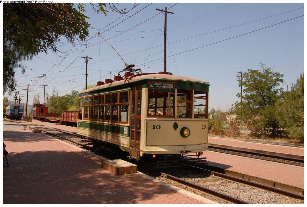 (195k, 1044x706)<br><b>Country:</b> United States<br><b>City:</b> Perris, CA<br><b>System:</b> Orange Empire Railway Museum <br><b>Car:</b>  10 <br><b>Photo by:</b> Richard Panse<br><b>Date:</b> 6/23/2007<br><b>Viewed (this week/total):</b> 1 / 1523