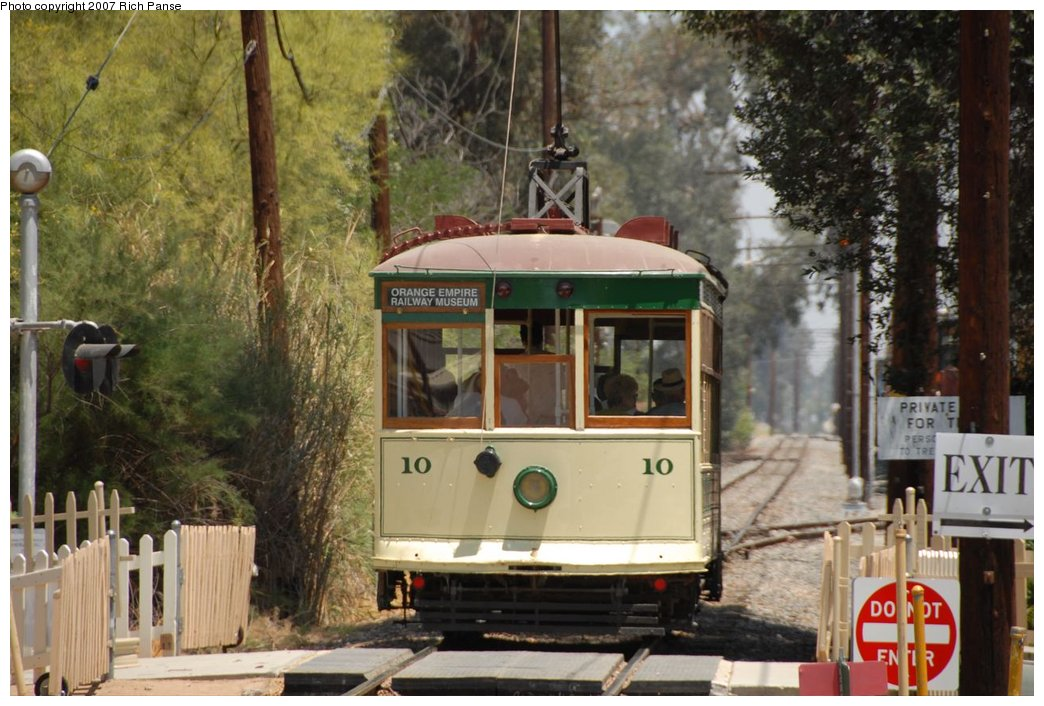 (192k, 1044x706)<br><b>Country:</b> United States<br><b>City:</b> Perris, CA<br><b>System:</b> Orange Empire Railway Museum <br><b>Car:</b>  10 <br><b>Photo by:</b> Richard Panse<br><b>Date:</b> 6/23/2007<br><b>Viewed (this week/total):</b> 2 / 1444