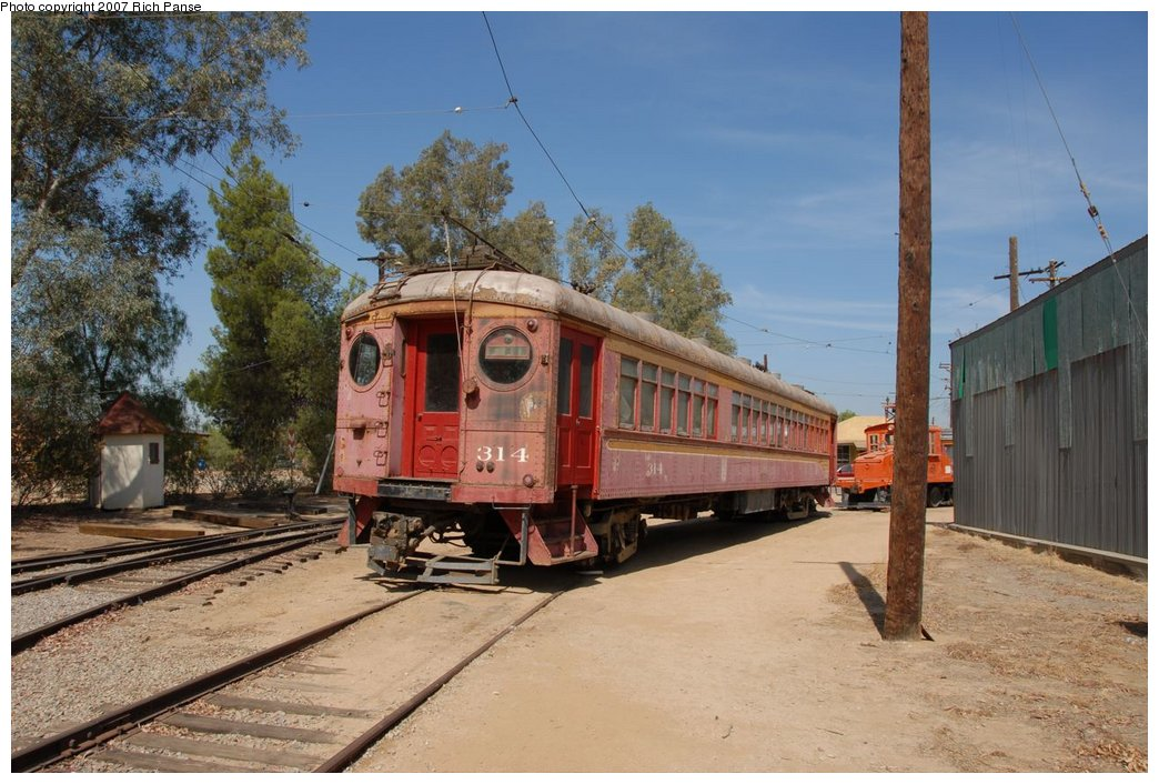 (194k, 1044x706)<br><b>Country:</b> United States<br><b>City:</b> Perris, CA<br><b>System:</b> Orange Empire Railway Museum <br><b>Car:</b>  314 <br><b>Photo by:</b> Richard Panse<br><b>Date:</b> 6/23/2007<br><b>Viewed (this week/total):</b> 1 / 1039