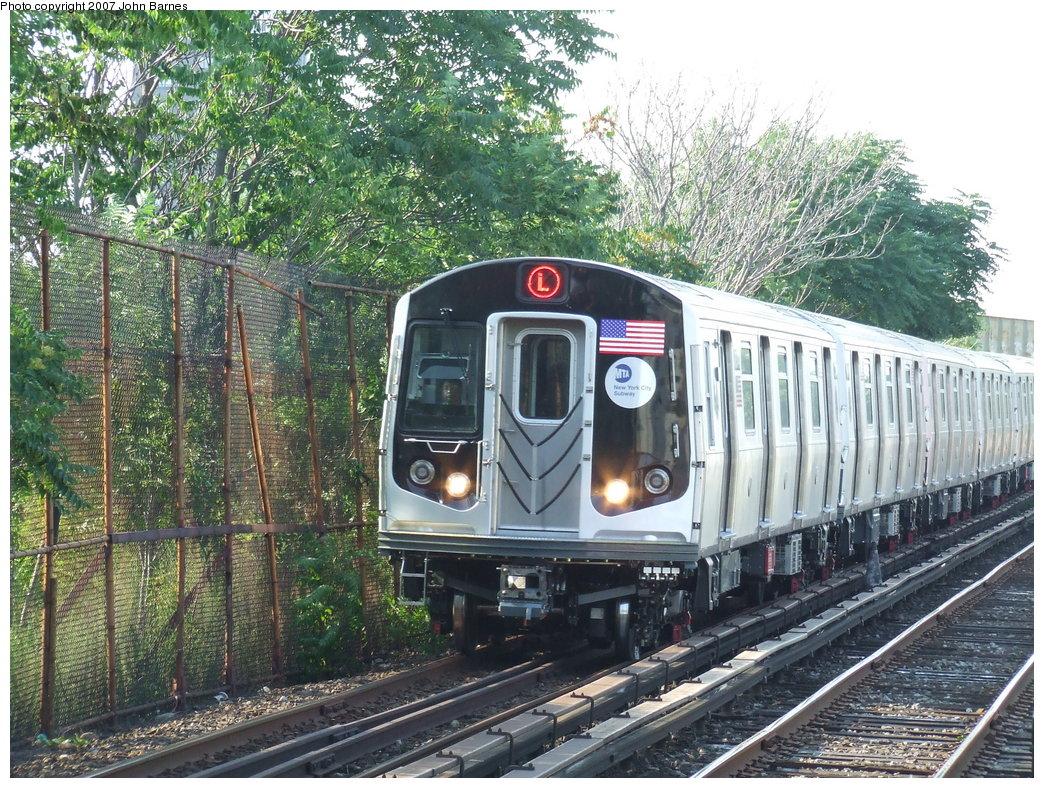 (296k, 1044x788)<br><b>Country:</b> United States<br><b>City:</b> New York<br><b>System:</b> New York City Transit<br><b>Line:</b> BMT Canarsie Line<br><b>Location:</b> New Lots Avenue <br><b>Route:</b> L<br><b>Car:</b> R-160A-1 (Alstom, 2005-2008, 4 car sets)  8344 <br><b>Photo by:</b> John Barnes<br><b>Date:</b> 8/2/2007<br><b>Viewed (this week/total):</b> 2 / 2848