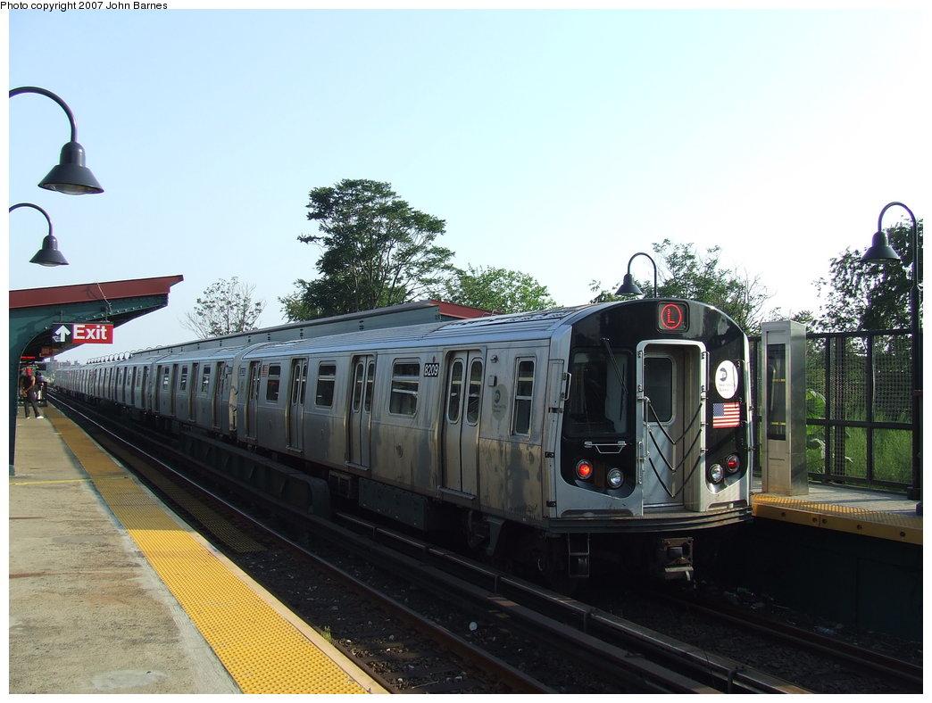 (164k, 1044x788)<br><b>Country:</b> United States<br><b>City:</b> New York<br><b>System:</b> New York City Transit<br><b>Line:</b> BMT Canarsie Line<br><b>Location:</b> New Lots Avenue <br><b>Route:</b> L<br><b>Car:</b> R-143 (Kawasaki, 2001-2002) 8209 <br><b>Photo by:</b> John Barnes<br><b>Date:</b> 8/2/2007<br><b>Viewed (this week/total):</b> 0 / 2030