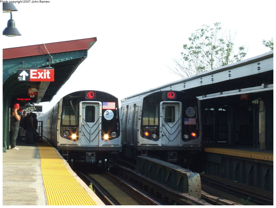 (147k, 1044x788)<br><b>Country:</b> United States<br><b>City:</b> New York<br><b>System:</b> New York City Transit<br><b>Line:</b> BMT Canarsie Line<br><b>Location:</b> New Lots Avenue <br><b>Route:</b> L<br><b>Car:</b> R-160A-1 (Alstom, 2005-2008, 4 car sets)  8337 <br><b>Photo by:</b> John Barnes<br><b>Date:</b> 8/2/2007<br><b>Notes:</b> With R-143 8308<br><b>Viewed (this week/total):</b> 7 / 4346