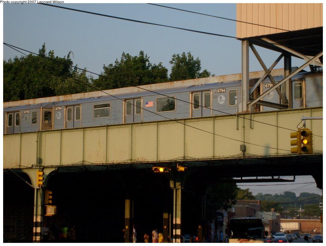 (187k, 1044x788)<br><b>Country:</b> United States<br><b>City:</b> New York<br><b>System:</b> New York City Transit<br><b>Line:</b> IRT Dyre Ave. Line<br><b>Location:</b> Dyre Avenue <br><b>Route:</b> 5<br><b>Car:</b> R-142 (Primary Order, Bombardier, 1999-2002)  6794 <br><b>Photo by:</b> Leonard Wilson<br><b>Date:</b> 8/2/2007<br><b>Viewed (this week/total):</b> 1 / 4242