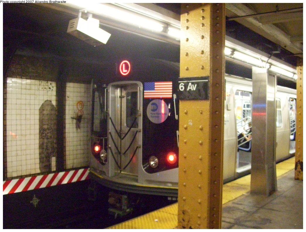 (201k, 1044x791)<br><b>Country:</b> United States<br><b>City:</b> New York<br><b>System:</b> New York City Transit<br><b>Line:</b> BMT Canarsie Line<br><b>Location:</b> 6th Avenue <br><b>Route:</b> L<br><b>Car:</b> R-160A-1 (Alstom, 2005-2008, 4 car sets)  8332 <br><b>Photo by:</b> Aliandro Brathwaite<br><b>Date:</b> 7/30/2007<br><b>Viewed (this week/total):</b> 0 / 2337