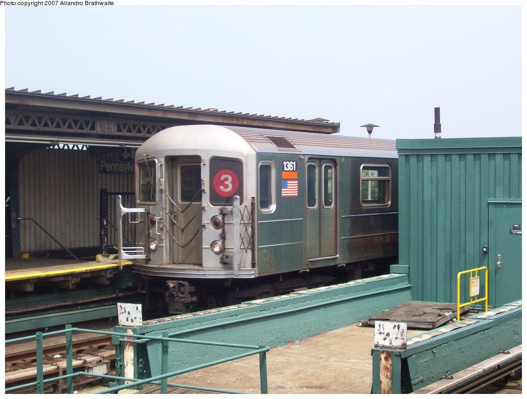 (165k, 1044x791)<br><b>Country:</b> United States<br><b>City:</b> New York<br><b>System:</b> New York City Transit<br><b>Line:</b> IRT Brooklyn Line<br><b>Location:</b> Pennsylvania Avenue <br><b>Route:</b> 3<br><b>Car:</b> R-62 (Kawasaki, 1983-1985)  1361 <br><b>Photo by:</b> Aliandro Brathwaite<br><b>Date:</b> 7/30/2007<br><b>Viewed (this week/total):</b> 2 / 2432