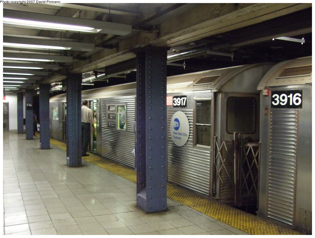 (169k, 1044x788)<br><b>Country:</b> United States<br><b>City:</b> New York<br><b>System:</b> New York City Transit<br><b>Line:</b> IND Queens Boulevard Line<br><b>Location:</b> 7th Avenue/53rd Street <br><b>Route:</b> E<br><b>Car:</b> R-32 (Budd, 1964)  3917 <br><b>Photo by:</b> David Pirmann<br><b>Date:</b> 8/3/2007<br><b>Viewed (this week/total):</b> 3 / 2370