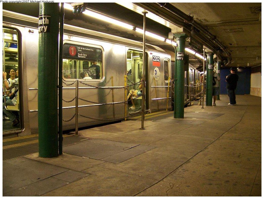 (192k, 1044x788)<br><b>Country:</b> United States<br><b>City:</b> New York<br><b>System:</b> New York City Transit<br><b>Line:</b> IRT West Side Line<br><b>Location:</b> South Ferry (Outer Loop Station) <br><b>Route:</b> 1<br><b>Car:</b> R-62A (Bombardier, 1984-1987)  2202 <br><b>Photo by:</b> Michael Hodurski<br><b>Date:</b> 7/27/2007<br><b>Viewed (this week/total):</b> 7 / 2889