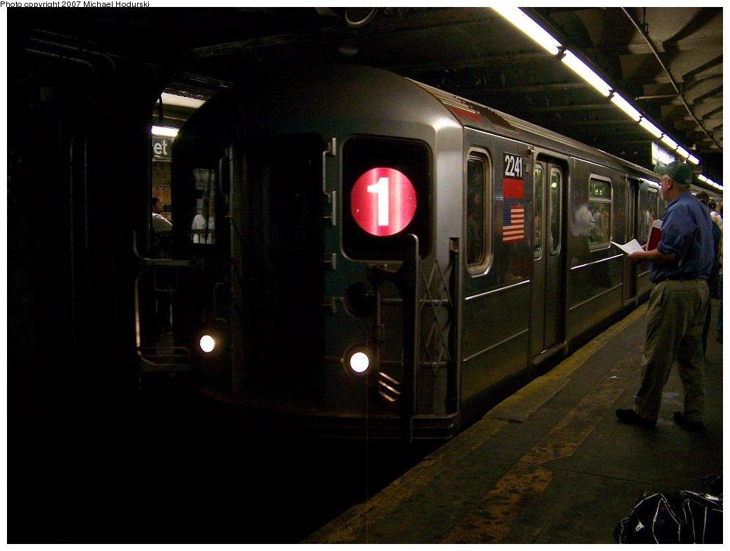(124k, 1044x788)<br><b>Country:</b> United States<br><b>City:</b> New York<br><b>System:</b> New York City Transit<br><b>Line:</b> IRT West Side Line<br><b>Location:</b> 96th Street <br><b>Route:</b> 1<br><b>Car:</b> R-62A (Bombardier, 1984-1987)  2241 <br><b>Photo by:</b> Michael Hodurski<br><b>Date:</b> 7/27/2007<br><b>Viewed (this week/total):</b> 2 / 2565