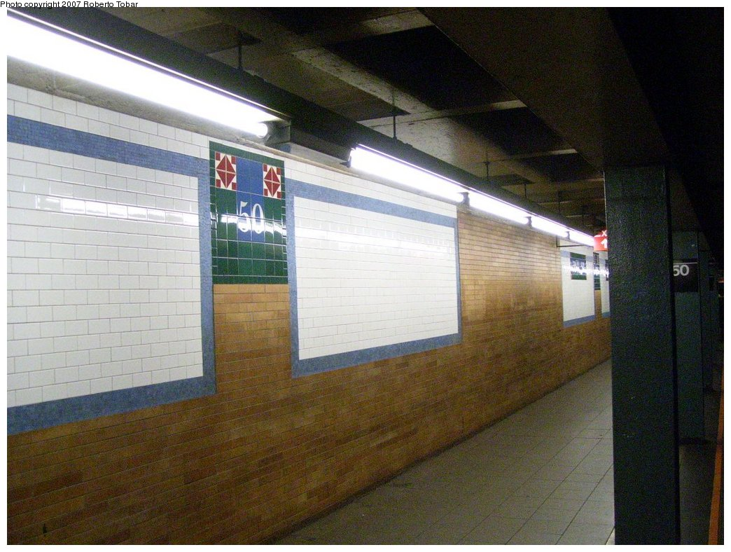 (188k, 1044x788)<br><b>Country:</b> United States<br><b>City:</b> New York<br><b>System:</b> New York City Transit<br><b>Line:</b> IRT West Side Line<br><b>Location:</b> 50th Street <br><b>Photo by:</b> Roberto C. Tobar<br><b>Date:</b> 8/4/2007<br><b>Viewed (this week/total):</b> 0 / 1817