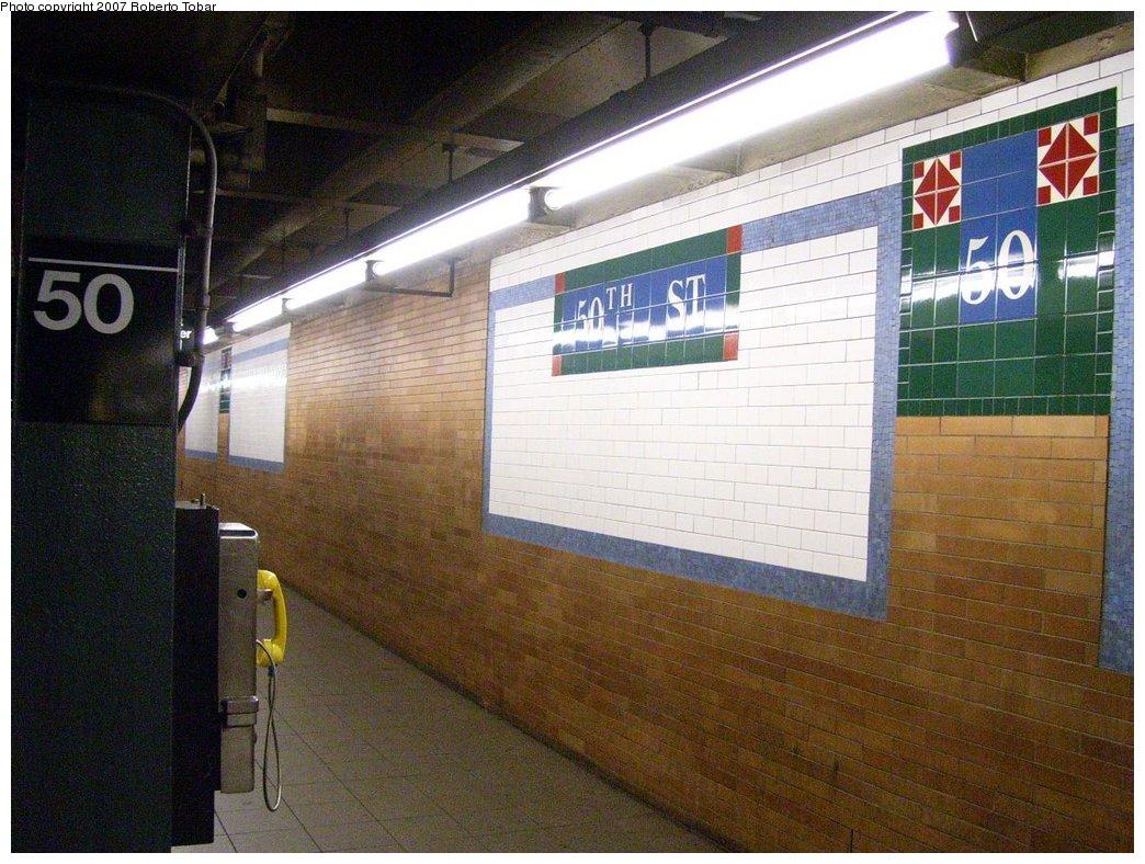 (196k, 1044x788)<br><b>Country:</b> United States<br><b>City:</b> New York<br><b>System:</b> New York City Transit<br><b>Line:</b> IRT West Side Line<br><b>Location:</b> 50th Street <br><b>Photo by:</b> Roberto C. Tobar<br><b>Date:</b> 8/4/2007<br><b>Viewed (this week/total):</b> 1 / 1929