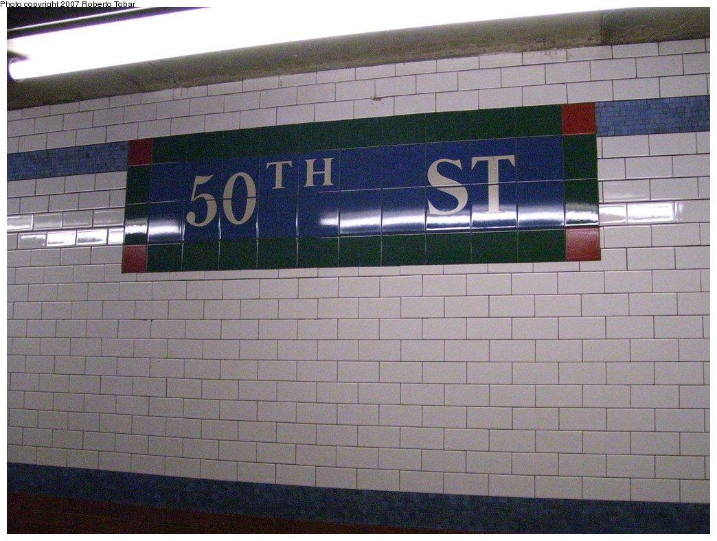 (187k, 1044x788)<br><b>Country:</b> United States<br><b>City:</b> New York<br><b>System:</b> New York City Transit<br><b>Line:</b> IRT West Side Line<br><b>Location:</b> 50th Street <br><b>Photo by:</b> Roberto C. Tobar<br><b>Date:</b> 8/4/2007<br><b>Viewed (this week/total):</b> 1 / 1750