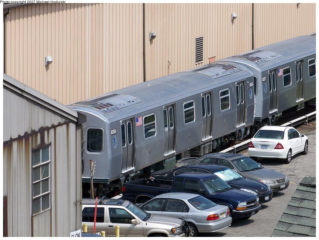 (212k, 1044x788)<br><b>Country:</b> United States<br><b>City:</b> New York<br><b>System:</b> New York City Transit<br><b>Location:</b> 207th Street Yard<br><b>Car:</b> R-160A-1 (Alstom, 2005-2008, 4 car sets)  8358 <br><b>Photo by:</b> Michael Hodurski<br><b>Date:</b> 7/27/2007<br><b>Viewed (this week/total):</b> 1 / 2707