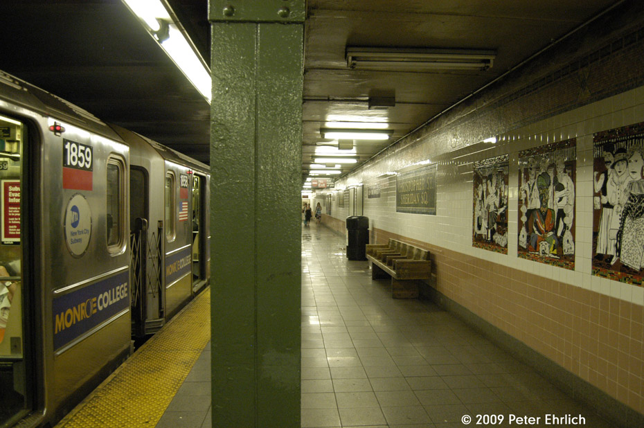 (214k, 930x618)<br><b>Country:</b> United States<br><b>City:</b> New York<br><b>System:</b> New York City Transit<br><b>Line:</b> IRT West Side Line<br><b>Location:</b> Christopher Street/Sheridan Square <br><b>Route:</b> 1<br><b>Car:</b> R-62A (Bombardier, 1984-1987)  1859 <br><b>Photo by:</b> Peter Ehrlich<br><b>Date:</b> 7/29/2009<br><b>Artwork:</b> <i>The Greenwich Village Murals</i>, Lee Brozgol (1994).<br><b>Notes:</b> With station artwork-- Bohemians panel - on right.<br><b>Viewed (this week/total):</b> 1 / 1927