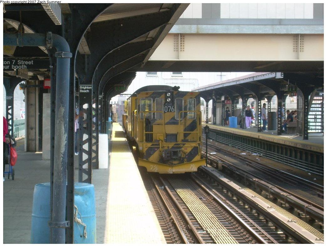 (215k, 1044x788)<br><b>Country:</b> United States<br><b>City:</b> New York<br><b>System:</b> New York City Transit<br><b>Line:</b> BMT Brighton Line<br><b>Location:</b> Brighton Beach <br><b>Route:</b> Work Service<br><b>Car:</b> R-52 Locomotive  76 <br><b>Photo by:</b> Zach Summer<br><b>Date:</b> 7/28/2007<br><b>Viewed (this week/total):</b> 0 / 1454