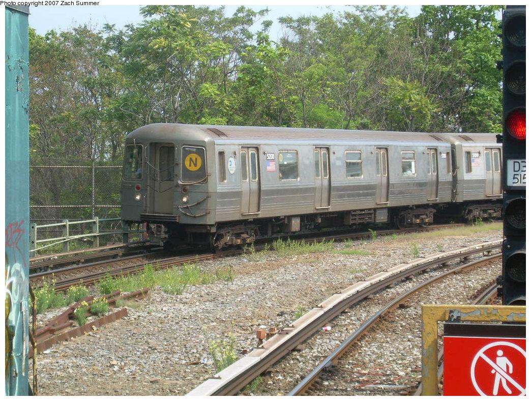 (325k, 1044x788)<br><b>Country:</b> United States<br><b>City:</b> New York<br><b>System:</b> New York City Transit<br><b>Line:</b> BMT West End Line<br><b>Location:</b> 9th Avenue <br><b>Route:</b> N<br><b>Car:</b> R-68A (Kawasaki, 1988-1989)  5200 <br><b>Photo by:</b> Zach Summer<br><b>Date:</b> 7/28/2007<br><b>Viewed (this week/total):</b> 0 / 2277
