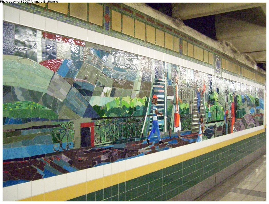 (239k, 1044x791)<br><b>Country:</b> United States<br><b>City:</b> New York<br><b>System:</b> New York City Transit<br><b>Line:</b> IRT Brooklyn Line<br><b>Location:</b> Church Avenue <br><b>Photo by:</b> Aliandro Brathwaite<br><b>Date:</b> 8/3/2007<br><b>Artwork:</b> <i>Transitions</i>, Louis Delsarte (2001).<br><b>Viewed (this week/total):</b> 8 / 2509
