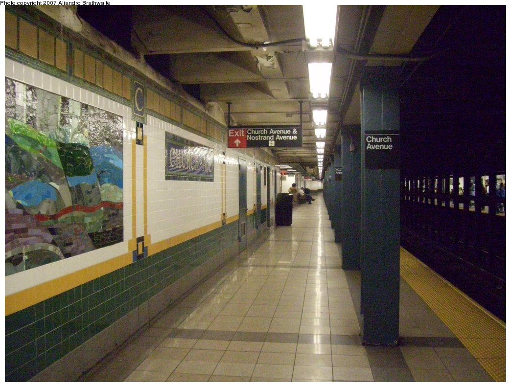 (211k, 1044x791)<br><b>Country:</b> United States<br><b>City:</b> New York<br><b>System:</b> New York City Transit<br><b>Line:</b> IRT Brooklyn Line<br><b>Location:</b> Church Avenue <br><b>Photo by:</b> Aliandro Brathwaite<br><b>Date:</b> 8/3/2007<br><b>Viewed (this week/total):</b> 1 / 2466