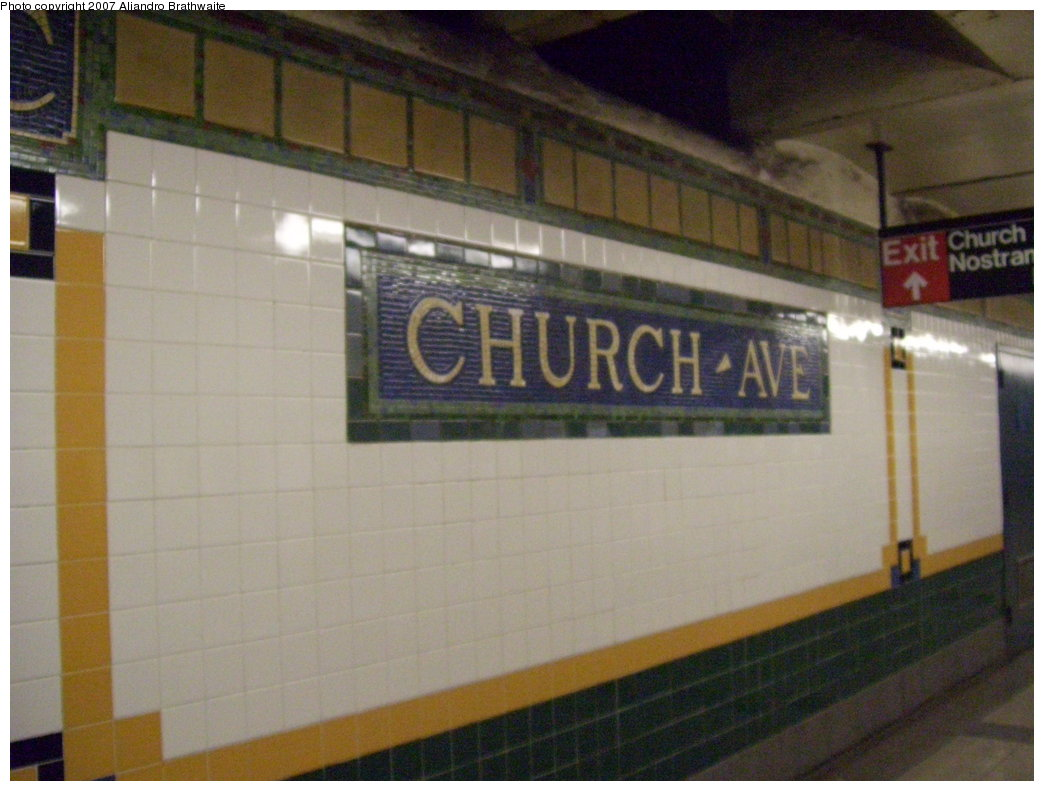 (158k, 1044x791)<br><b>Country:</b> United States<br><b>City:</b> New York<br><b>System:</b> New York City Transit<br><b>Line:</b> IRT Brooklyn Line<br><b>Location:</b> Church Avenue <br><b>Photo by:</b> Aliandro Brathwaite<br><b>Date:</b> 8/3/2007<br><b>Viewed (this week/total):</b> 1 / 1863