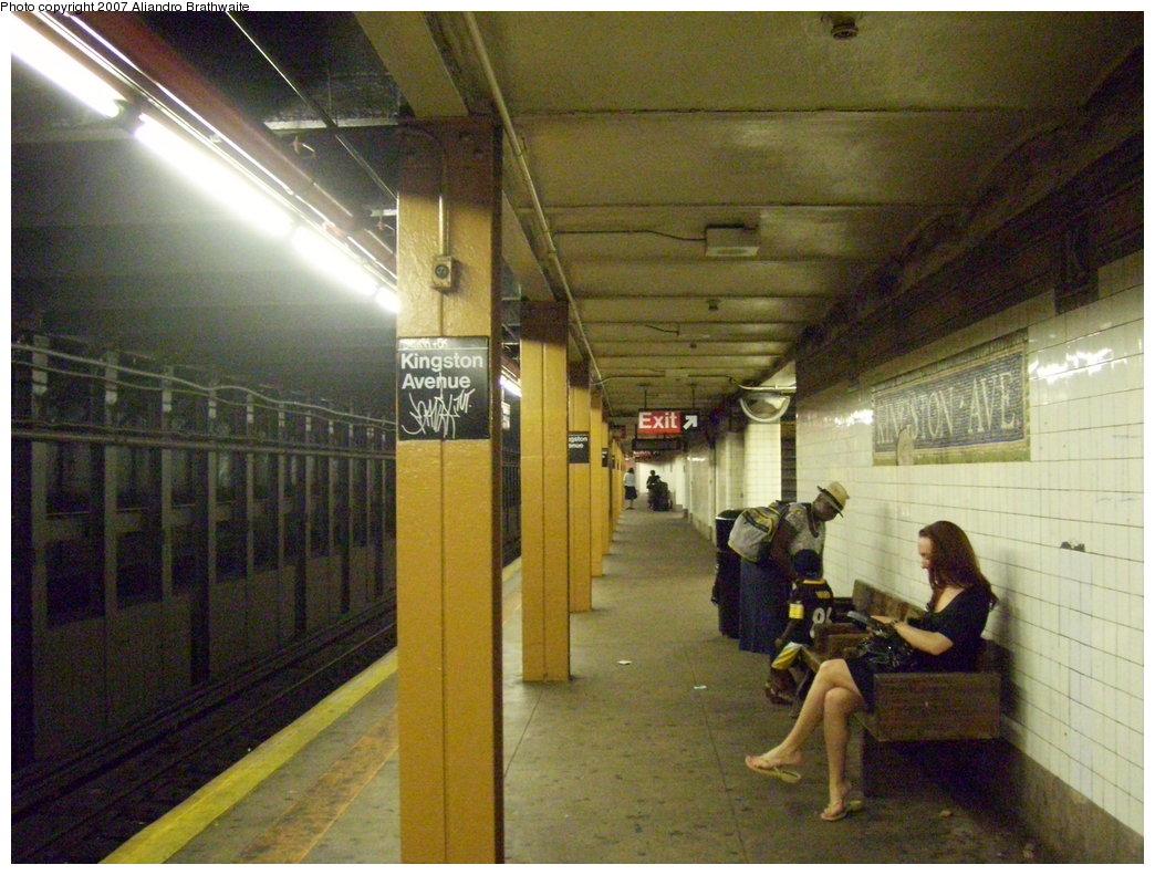 (204k, 1044x791)<br><b>Country:</b> United States<br><b>City:</b> New York<br><b>System:</b> New York City Transit<br><b>Line:</b> IRT Brooklyn Line<br><b>Location:</b> Kingston Avenue <br><b>Photo by:</b> Aliandro Brathwaite<br><b>Date:</b> 8/1/2007<br><b>Viewed (this week/total):</b> 1 / 2883