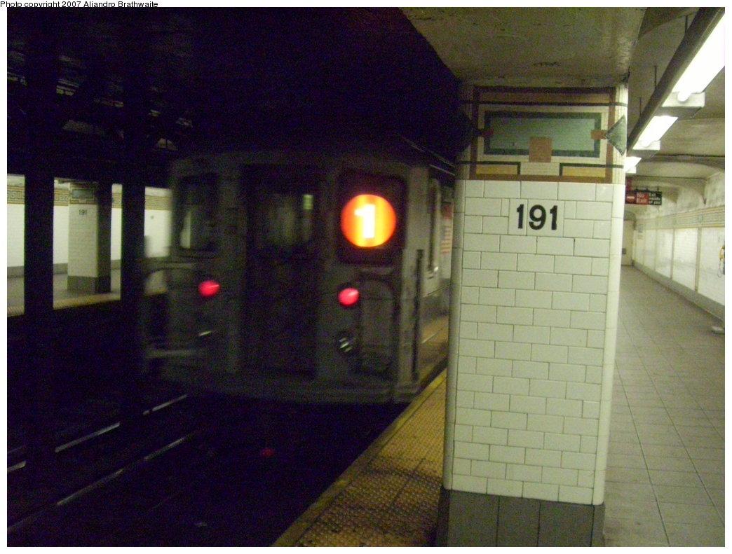 (181k, 1044x791)<br><b>Country:</b> United States<br><b>City:</b> New York<br><b>System:</b> New York City Transit<br><b>Line:</b> IRT West Side Line<br><b>Location:</b> 191st Street <br><b>Route:</b> 1<br><b>Car:</b> R-62A (Bombardier, 1984-1987)  1900 <br><b>Photo by:</b> Aliandro Brathwaite<br><b>Date:</b> 8/3/2007<br><b>Viewed (this week/total):</b> 3 / 4158