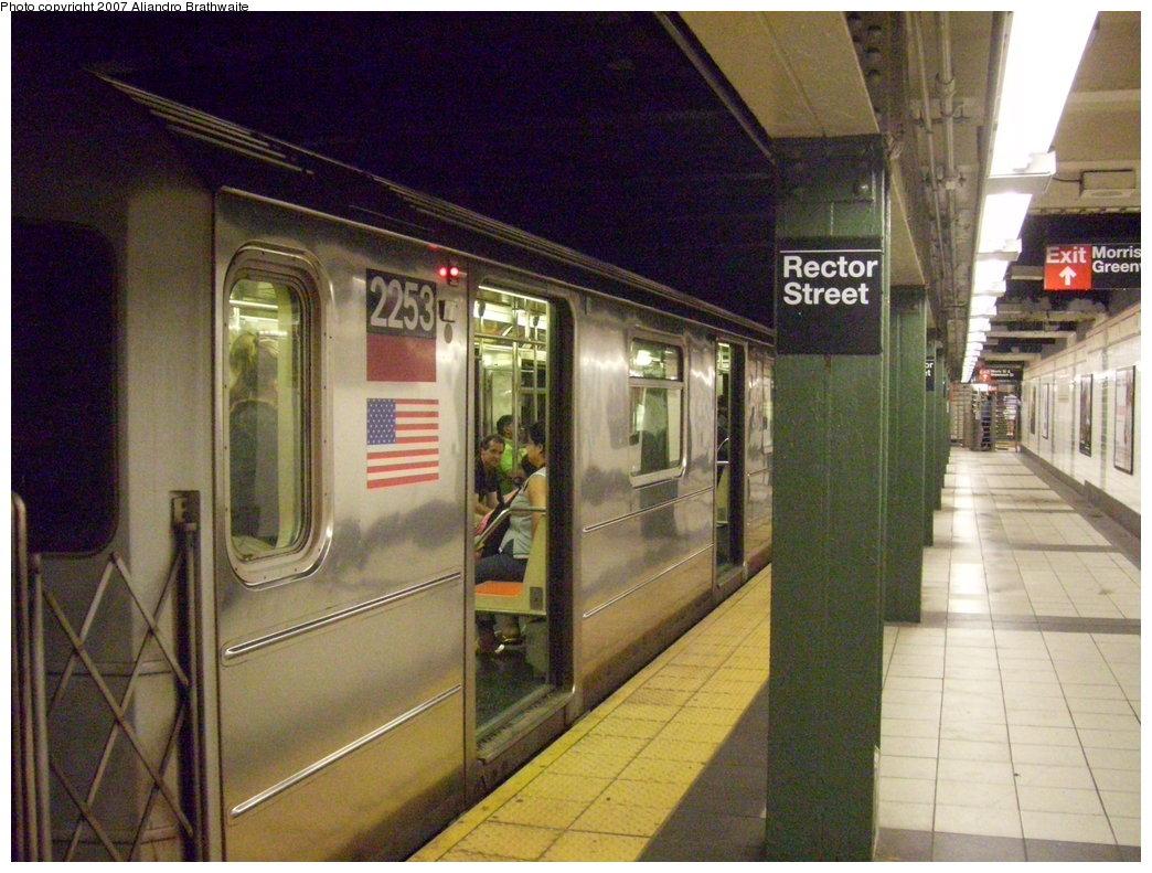 (208k, 1044x791)<br><b>Country:</b> United States<br><b>City:</b> New York<br><b>System:</b> New York City Transit<br><b>Line:</b> IRT West Side Line<br><b>Location:</b> Rector Street <br><b>Route:</b> 1<br><b>Car:</b> R-62A (Bombardier, 1984-1987)  2253 <br><b>Photo by:</b> Aliandro Brathwaite<br><b>Date:</b> 8/3/2007<br><b>Viewed (this week/total):</b> 3 / 3142