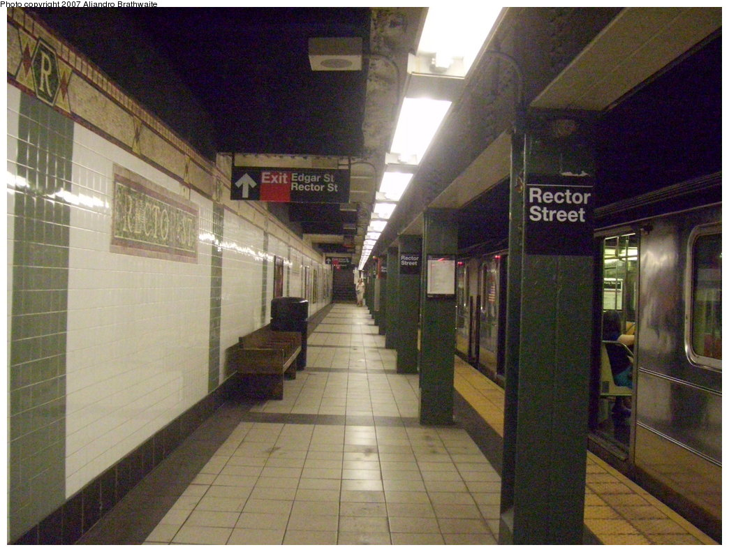 (202k, 1044x791)<br><b>Country:</b> United States<br><b>City:</b> New York<br><b>System:</b> New York City Transit<br><b>Line:</b> IRT West Side Line<br><b>Location:</b> Rector Street <br><b>Route:</b> 1<br><b>Car:</b> R-62A (Bombardier, 1984-1987)  2254 <br><b>Photo by:</b> Aliandro Brathwaite<br><b>Date:</b> 8/3/2007<br><b>Viewed (this week/total):</b> 1 / 3426