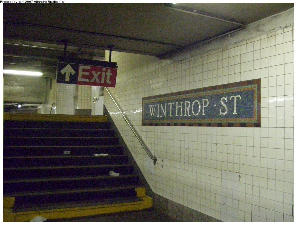 (192k, 1044x791)<br><b>Country:</b> United States<br><b>City:</b> New York<br><b>System:</b> New York City Transit<br><b>Line:</b> IRT Brooklyn Line<br><b>Location:</b> Winthrop Street <br><b>Photo by:</b> Aliandro Brathwaite<br><b>Date:</b> 8/3/2007<br><b>Viewed (this week/total):</b> 0 / 2354
