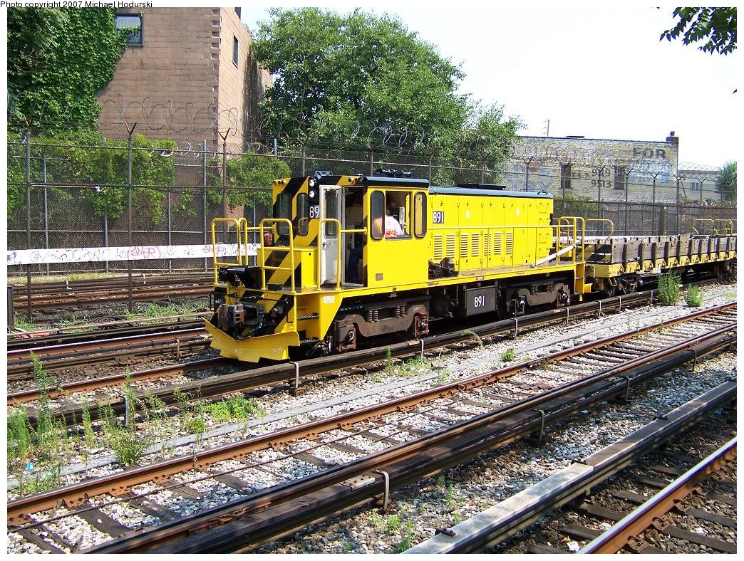 (367k, 1044x788)<br><b>Country:</b> United States<br><b>City:</b> New York<br><b>System:</b> New York City Transit<br><b>Line:</b> BMT Sea Beach Line<br><b>Location:</b> 86th Street <br><b>Route:</b> Work Service<br><b>Car:</b> R-77 Locomotive  891 <br><b>Photo by:</b> Michael Hodurski<br><b>Date:</b> 8/3/2007<br><b>Viewed (this week/total):</b> 0 / 1235