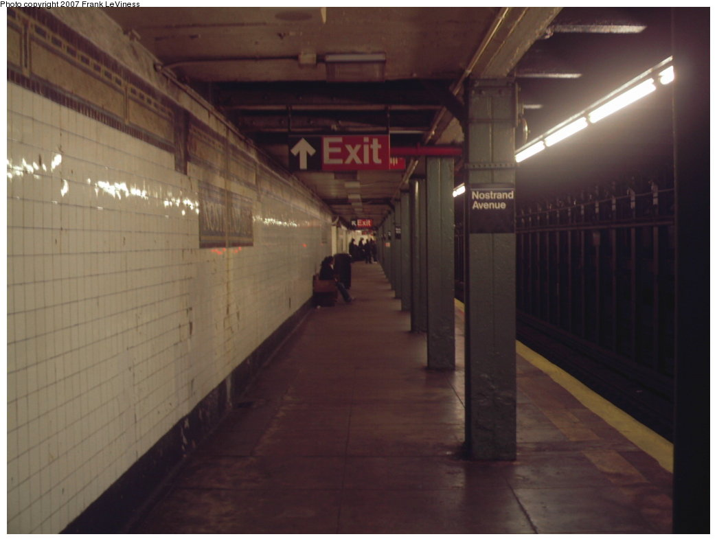 (99k, 1044x788)<br><b>Country:</b> United States<br><b>City:</b> New York<br><b>System:</b> New York City Transit<br><b>Line:</b> IRT Brooklyn Line<br><b>Location:</b> Nostrand Avenue<br><b>Photo by:</b> Frank LeViness<br><b>Date:</b> 12/28/2006<br><b>Notes:</b> Manhattan bound platform.<br><b>Viewed (this week/total):</b> 2 / 3376