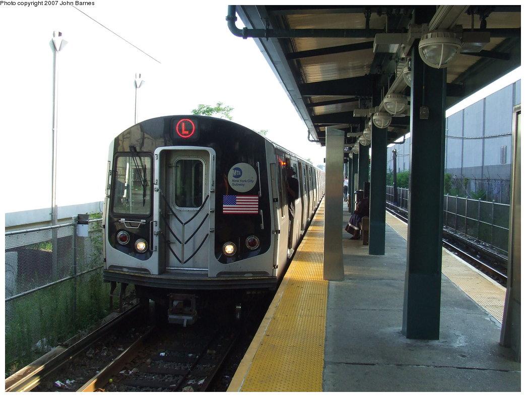 (167k, 1044x788)<br><b>Country:</b> United States<br><b>City:</b> New York<br><b>System:</b> New York City Transit<br><b>Line:</b> BMT Canarsie Line<br><b>Location:</b> East 105th Street <br><b>Route:</b> L<br><b>Car:</b> R-143 (Kawasaki, 2001-2002) 8224 <br><b>Photo by:</b> John Barnes<br><b>Date:</b> 8/2/2007<br><b>Viewed (this week/total):</b> 1 / 2350