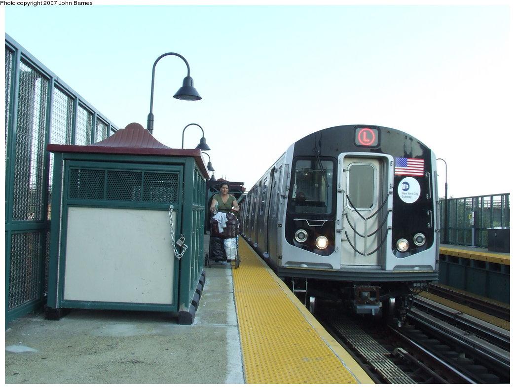 (157k, 1044x788)<br><b>Country:</b> United States<br><b>City:</b> New York<br><b>System:</b> New York City Transit<br><b>Line:</b> BMT Canarsie Line<br><b>Location:</b> Livonia Avenue <br><b>Route:</b> L<br><b>Car:</b> R-160A-1 (Alstom, 2005-2008, 4 car sets)  8320 <br><b>Photo by:</b> John Barnes<br><b>Date:</b> 8/2/2007<br><b>Viewed (this week/total):</b> 4 / 2771