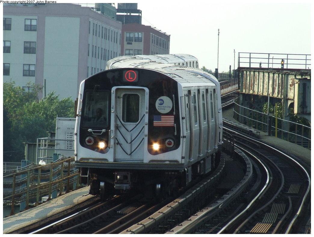 (176k, 1044x788)<br><b>Country:</b> United States<br><b>City:</b> New York<br><b>System:</b> New York City Transit<br><b>Line:</b> BMT Canarsie Line<br><b>Location:</b> Sutter Avenue <br><b>Route:</b> L<br><b>Car:</b> R-143 (Kawasaki, 2001-2002) 8113 <br><b>Photo by:</b> John Barnes<br><b>Date:</b> 8/2/2007<br><b>Viewed (this week/total):</b> 0 / 2533