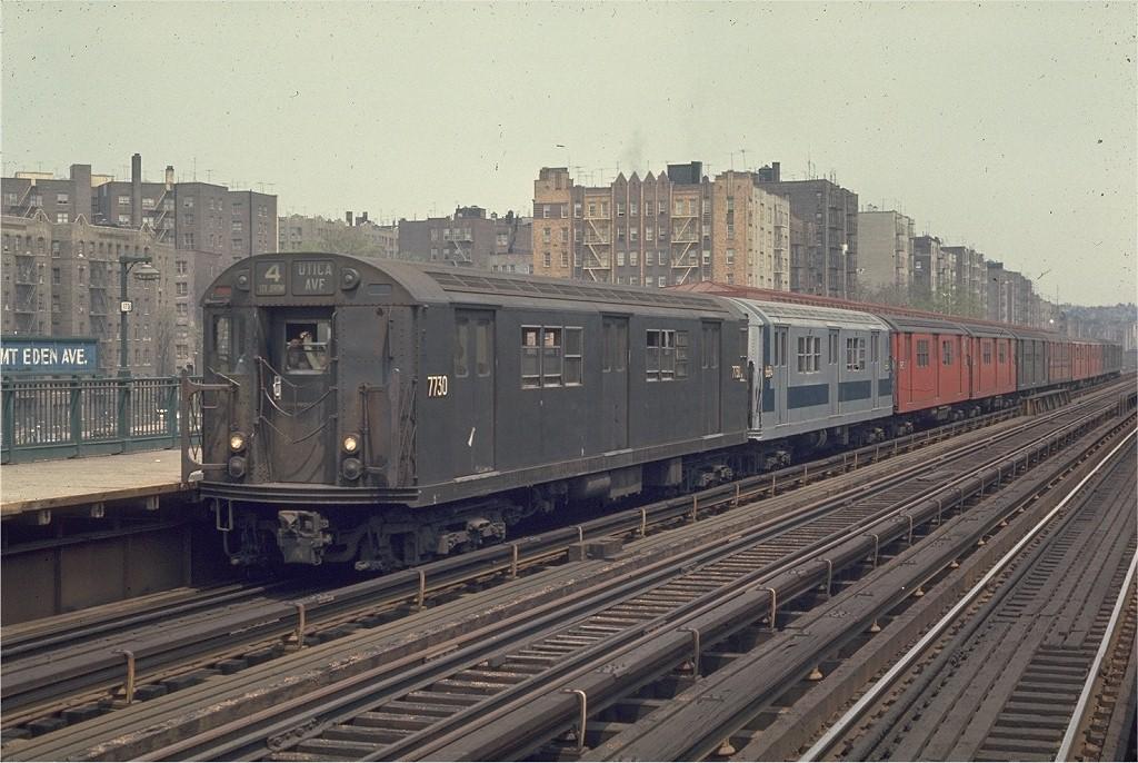 (219k, 1024x686)<br><b>Country:</b> United States<br><b>City:</b> New York<br><b>System:</b> New York City Transit<br><b>Line:</b> IRT Woodlawn Line<br><b>Location:</b> Mt. Eden Avenue <br><b>Route:</b> 4<br><b>Car:</b> R-22 (St. Louis, 1957-58) 7730 <br><b>Photo by:</b> Joe Testagrose<br><b>Date:</b> 5/9/1970<br><b>Viewed (this week/total):</b> 2 / 1712