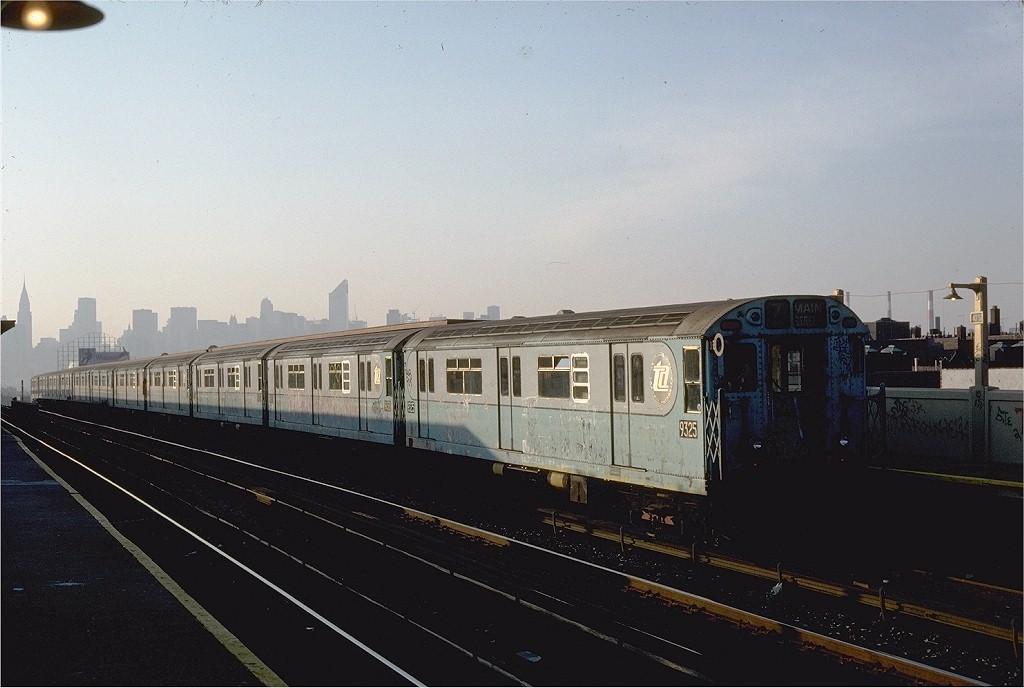 (158k, 1024x688)<br><b>Country:</b> United States<br><b>City:</b> New York<br><b>System:</b> New York City Transit<br><b>Line:</b> IRT Flushing Line<br><b>Location:</b> 40th Street/Lowery Street <br><b>Route:</b> 7<br><b>Car:</b> R-33 World's Fair (St. Louis, 1963-64) 9325 <br><b>Photo by:</b> Steve Zabel<br><b>Collection of:</b> Joe Testagrose<br><b>Date:</b> 11/2/1981<br><b>Viewed (this week/total):</b> 0 / 1873