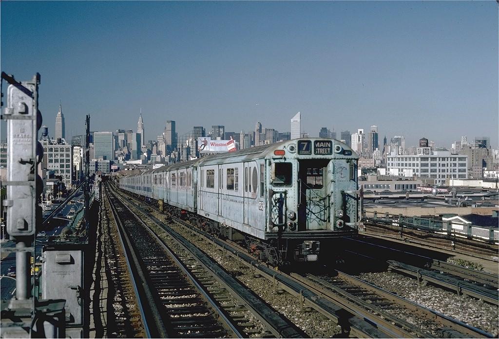 (256k, 1024x697)<br><b>Country:</b> United States<br><b>City:</b> New York<br><b>System:</b> New York City Transit<br><b>Line:</b> IRT Flushing Line<br><b>Location:</b> 40th Street/Lowery Street <br><b>Route:</b> 7<br><b>Car:</b> R-33 World's Fair (St. Louis, 1963-64) 9343 <br><b>Photo by:</b> Steve Zabel<br><b>Collection of:</b> Joe Testagrose<br><b>Date:</b> 11/3/1981<br><b>Viewed (this week/total):</b> 0 / 2483