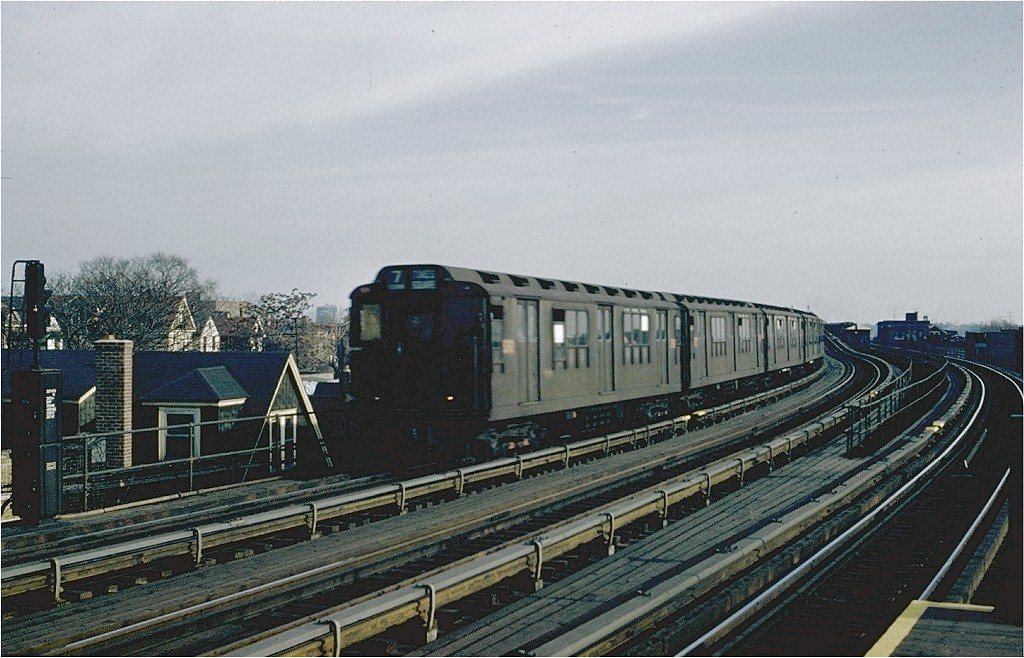 (204k, 1024x658)<br><b>Country:</b> United States<br><b>City:</b> New York<br><b>System:</b> New York City Transit<br><b>Line:</b> IRT Flushing Line<br><b>Location:</b> 103rd Street/Corona Plaza <br><b>Route:</b> 7<br><b>Car:</b> R-12 (American Car & Foundry, 1948)  <br><b>Collection of:</b> Joe Testagrose<br><b>Viewed (this week/total):</b> 7 / 2850