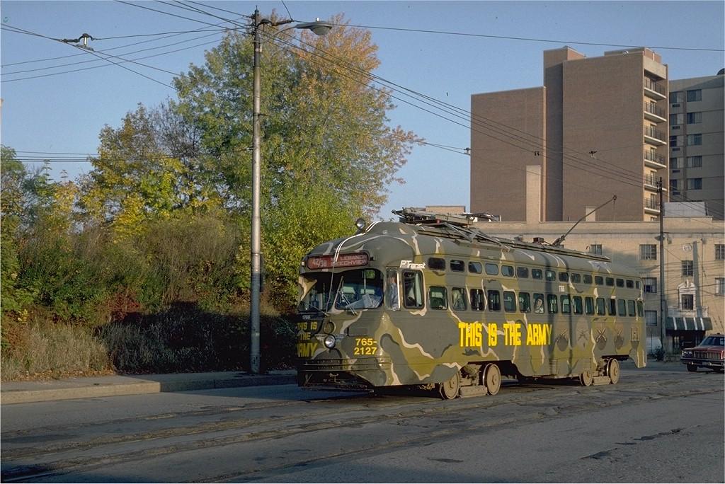 (238k, 1024x684)<br><b>Country:</b> United States<br><b>City:</b> Pittsburgh, PA<br><b>System:</b> PAT <br><b>Line:</b> Beechview <br><b>Location:</b> Washington & Bower Hill - Former Street ROW - Beechview Line <br><b>Car:</b> Pittsburgh Railways/PAT PCC 1766 <br><b>Photo by:</b> Steve Zabel<br><b>Collection of:</b> Joe Testagrose<br><b>Date:</b> 10/21/1982<br><b>Viewed (this week/total):</b> 2 / 1828
