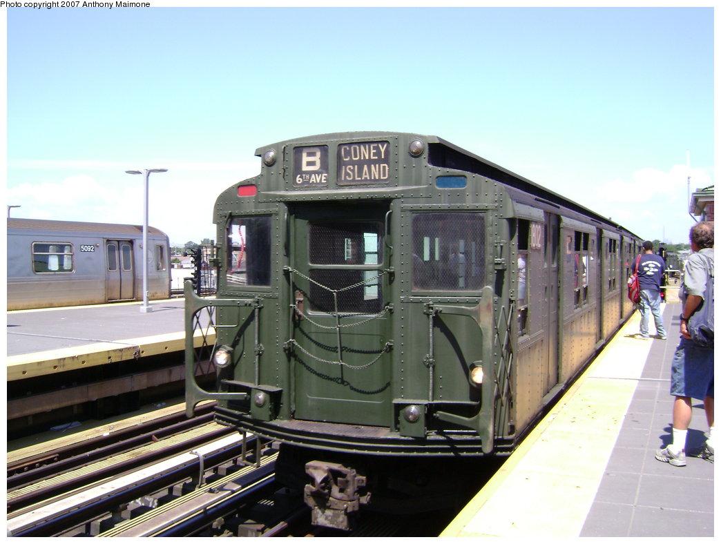 (177k, 1044x788)<br><b>Country:</b> United States<br><b>City:</b> New York<br><b>System:</b> New York City Transit<br><b>Location:</b> Coney Island/Stillwell Avenue<br><b>Route:</b> Fan Trip<br><b>Car:</b> R-9 (Pressed Steel, 1940)  1802 <br><b>Photo by:</b> Anthony Maimone<br><b>Date:</b> 8/12/2007<br><b>Viewed (this week/total):</b> 1 / 2054