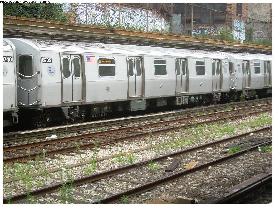 (288k, 1044x788)<br><b>Country:</b> United States<br><b>City:</b> New York<br><b>System:</b> New York City Transit<br><b>Line:</b> BMT Sea Beach Line<br><b>Location:</b> New Utrecht Avenue <br><b>Route:</b> N<br><b>Car:</b> R-160B (Kawasaki, 2005-2008)  8739 <br><b>Photo by:</b> Zach Summer<br><b>Date:</b> 8/7/2007<br><b>Viewed (this week/total):</b> 0 / 2949